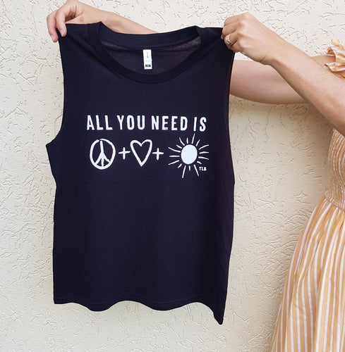 TLB all you need is peace love sunshine Adult Women's Black tank