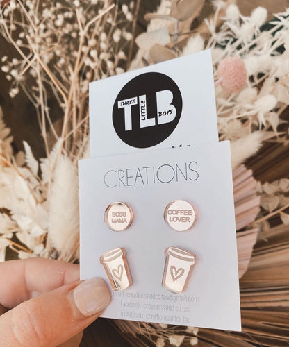 TLB/ Creations and Co.Tas Boss Mama Coffee Lover Studs Rose Gold
