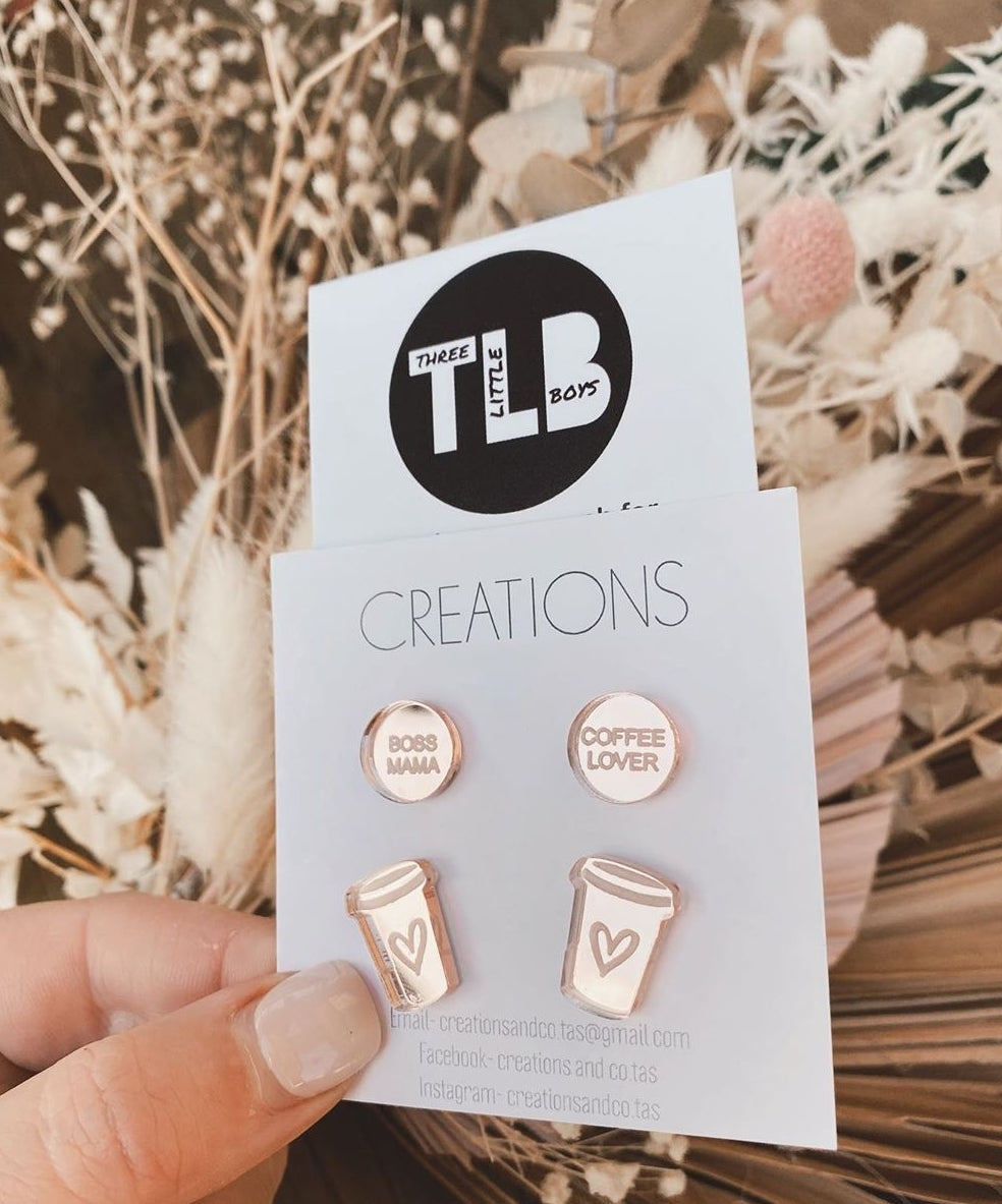 TLB/ Creations and Co.Tas Boss Mama Coffee Lover Studs Rose Gold RESTOCKING SOON!