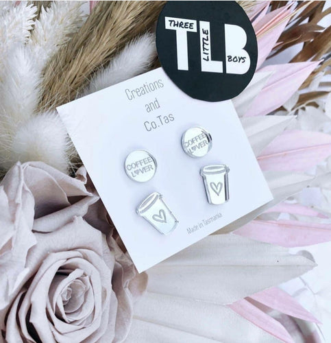 TLB / Creations and Co.Tas COFFEE LOVER Studs Silver