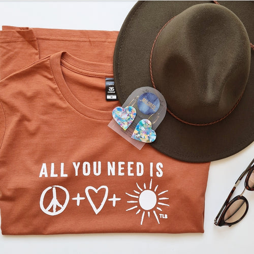 TLB All you need is peace love and sunshine Adult Copper tee