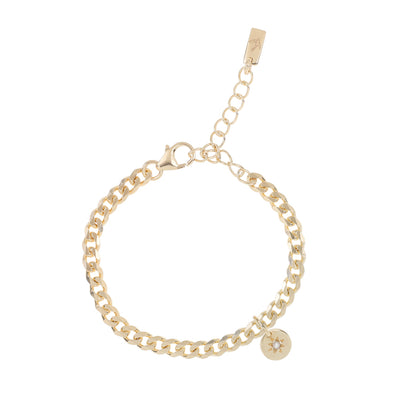 Gold Vermeil cuban link chain bracelet that is timeless and feminine and a beautiful gift for baby showers and mothers.