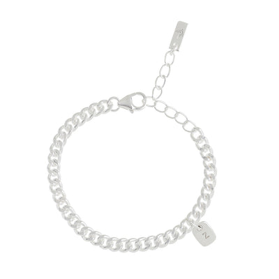 The Rectangular Pendant bracelet product image showing a clear representation of the sterling silver cuban link bracelet along with one solid sterling silver initial pendant on the bracelet.