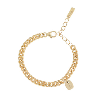 The Rectangular Pendant bracelet product image showing a clear representation of the gold cuban link bracelet along with one solid 9ct gold initial pendant on the bracelet.