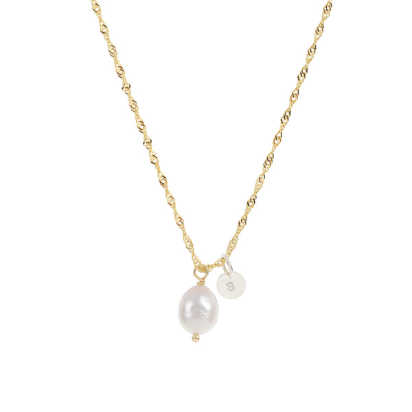 A gold plated waterwave chain with a baroque freshwater pearl and personalised pendant on it.  This is a timeless keepsake necklace that is available in child and adult adjustable lengths.  Each necklace also features a bluebird pendant. at the clasp.