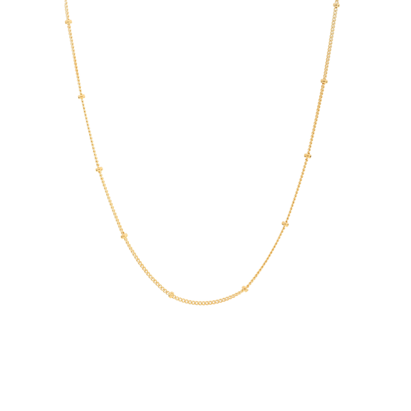 A gold plated ball chain necklace in that is available in three different length. Each necklace has an adjustable extension chain and can be worn on its own or layered with other personalised necklaces. Simple and elegant chain.