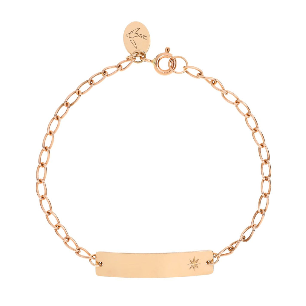 A solid gold ID bracelet is a bespoke keepsake bracelet for children, babies and adults. This bracelet is ethically made using solid 9ct rose gold and includes vintage star and moon detailing as well as optional personalised engraving on the front and or the back of the ID pendant. Our signature bluebird logo pendant is included on each adjustable bracelet. These keepsakes are a gorgeous baby shower or birthday gift idea for babies and children.