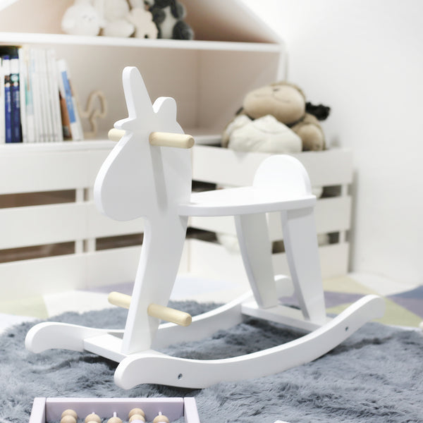 White Wooden Rocking Unicorn - Mini Me Ltd