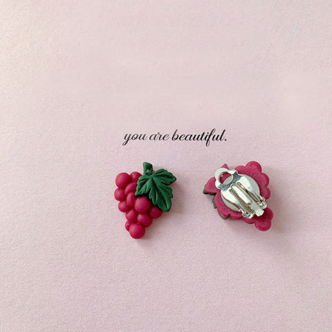Grape Clip on Earrings - Mini Me Ltd