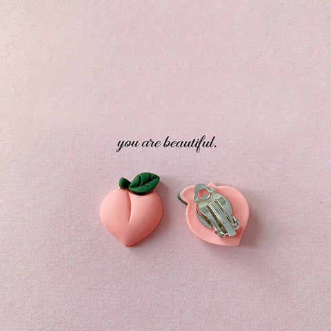 Peach Clip on Earrings - Mini Me Ltd