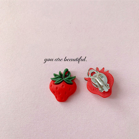 Strawberry Clip on Earrings - Mini Me Ltd