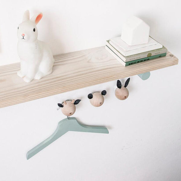 3 Wooden Animal Hooks