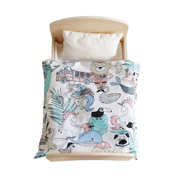 Wooden Doll Bed + Bedding Set (Wonderland) - Mini Me Ltd