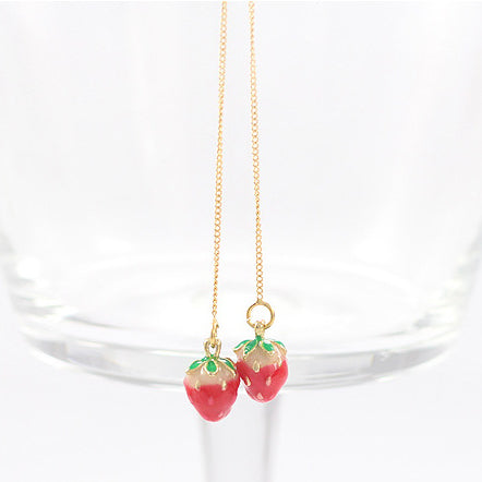 Long Strawberry Earrings For kids - Mini Me Ltd
