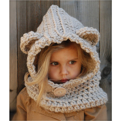 Bear Ear Kids Knitted Hat (2Y-7Y) - Mini Me Ltd