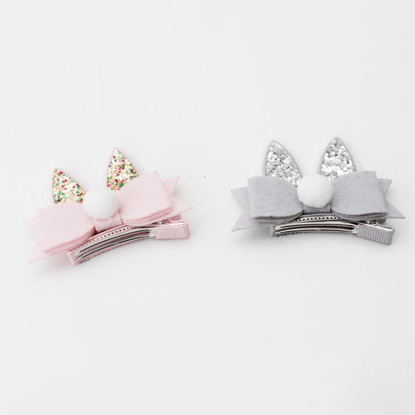 Rabbit Ear Hair Clip-Pink/Grey - Mini Me Ltd