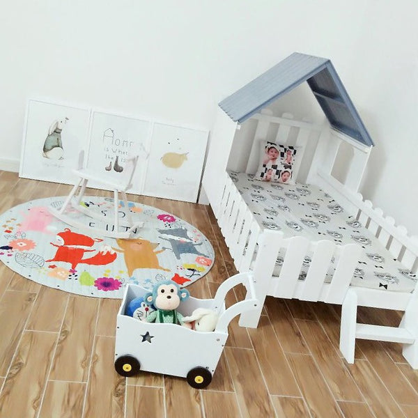 Solid Wood Kids House Bed-Bluish grey - Mini Me Ltd