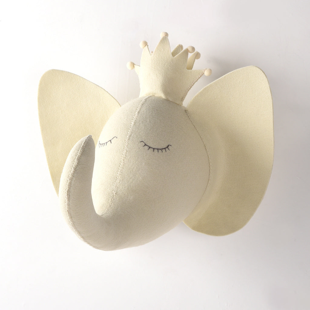White Elephant-Felt Animal Head - Mini Me Ltd