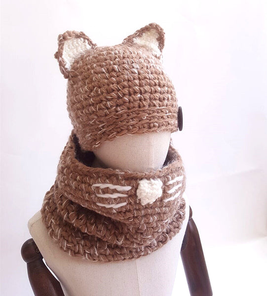Fox Ear Kids Knitted Hat (3Y-8Y) - Mini Me Ltd
