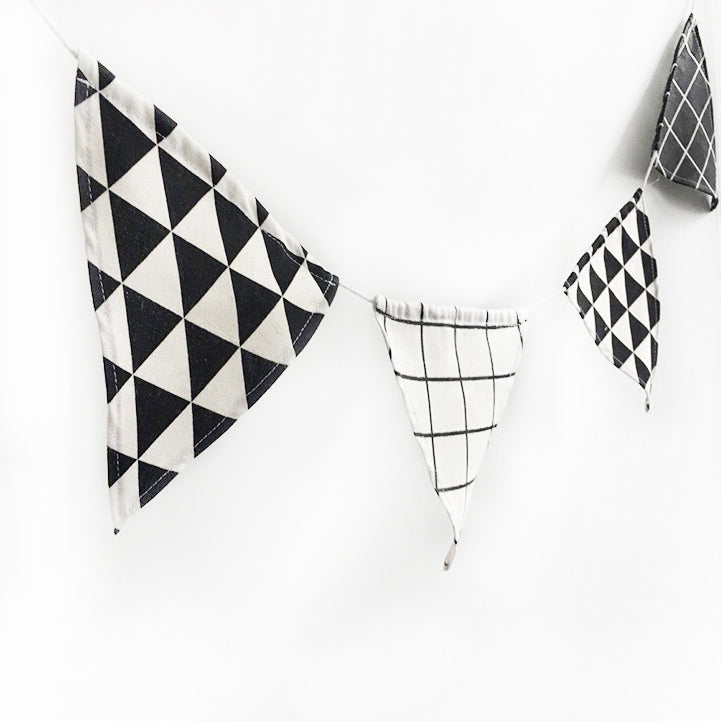 12 flags/ Wall hanging/Party Linen Flag - Mini Me Ltd