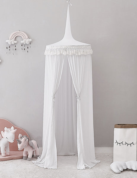 PRE ORDER - White Canopy with Tassel - Mini Me Ltd