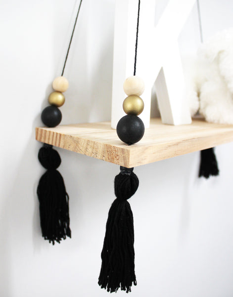 Black & Gold Macaron Wooden Display Shelf/ Wall decoration - Mini Me Ltd