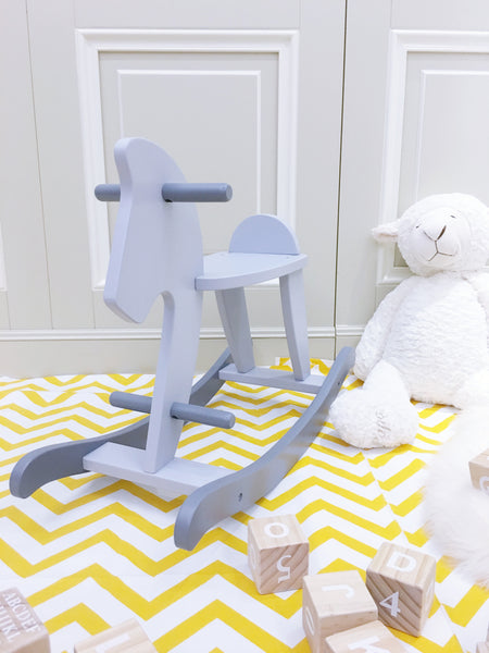 Wooden Rocking Horse  Bluish Grey - Mini Me Ltd