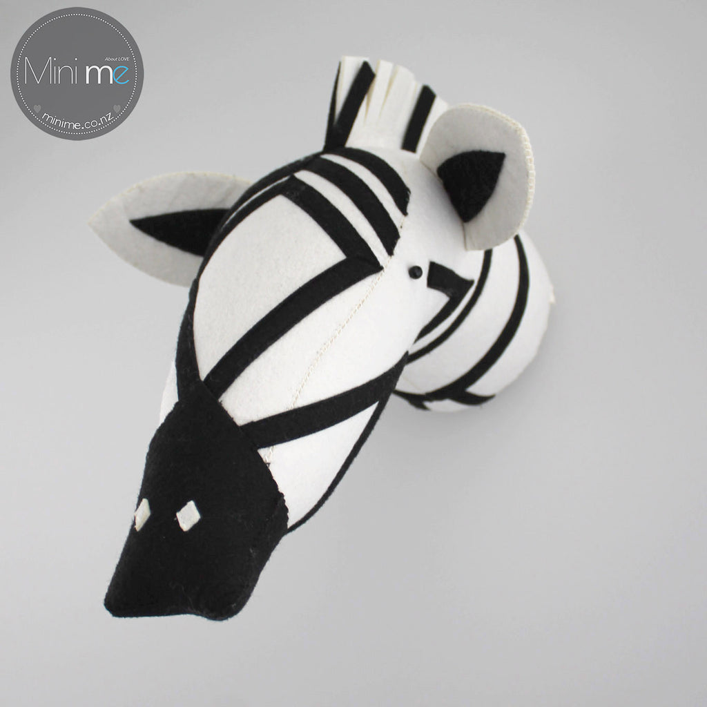 Zebra-Felt Animal Head /Hand made Room deco - Mini Me Ltd