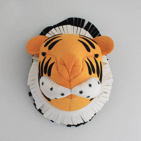 Tiger-Felt Animal Head /Hand made Room deco - Mini Me Ltd