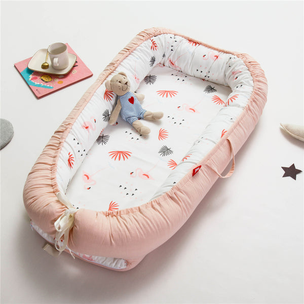 Double-Sided Portable Newborn Baby Sleeping Bed -Coral Orange
