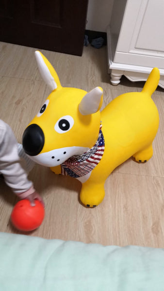 Yellow Dog Bouncy Horse Hopper - Bouncing Animal - Mini Me Ltd