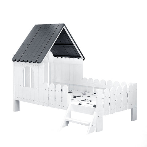 Solid Wood Kids House Bed- Left side ladder - Mini Me Ltd