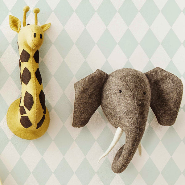 Elephant-Felt Animal Head /Hand made Room deco - Mini Me Ltd