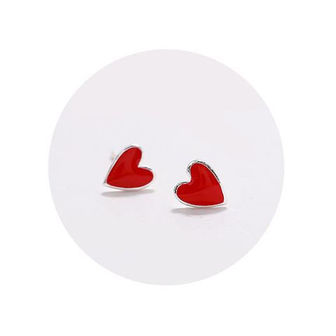 Heart Shape Silver Earrings