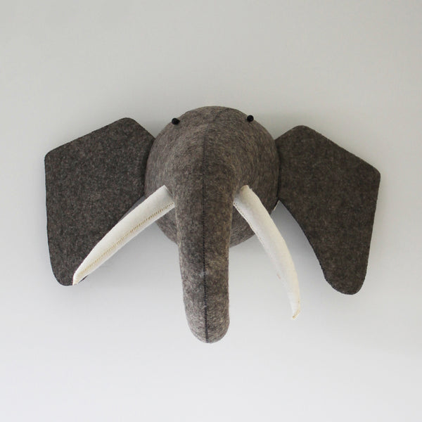 Elephant-Felt Animal Head /Hand made Room deco