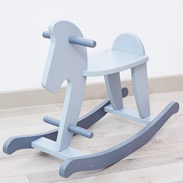Wooden Rocking Horse  Bluish Grey or Pink - Mini Me Ltd