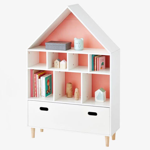 MINU House Shape Storage Unit/Bookcase-Orange Pink - Mini Me Ltd
