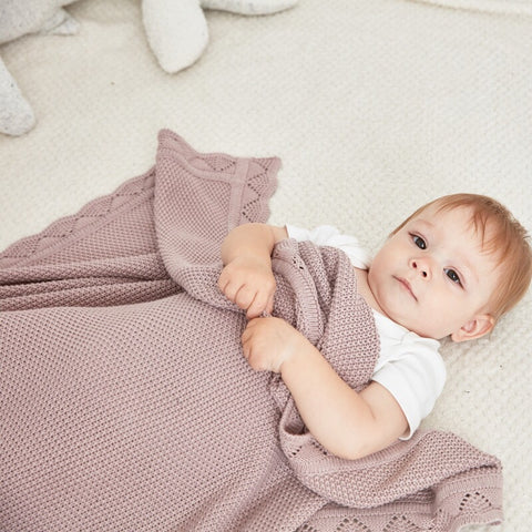 Cotton Baby Blanket (pink / white)