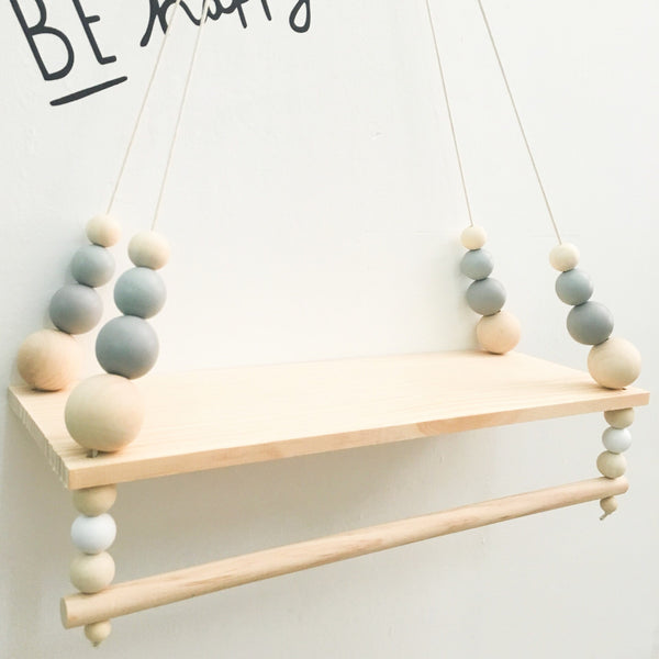 Lucca-Wooden Display Shelf/ Wall decoration (Grey) - Mini Me Ltd
