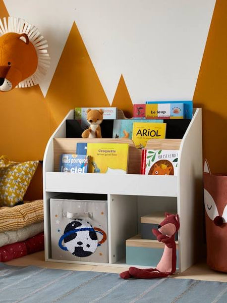 2-Pocket Storage Cabinet + Bookshelf-School Library - Mini Me Ltd