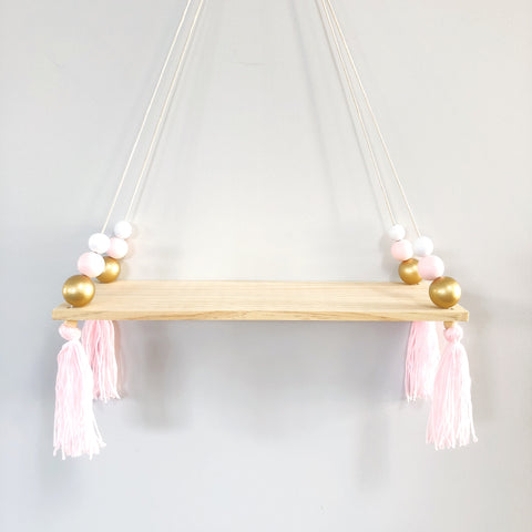 Pink & Gold Wooden Display Shelf/ Wall decoration - Mini Me Ltd