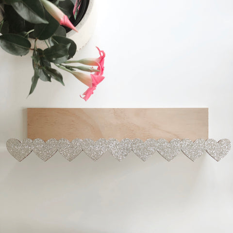 Silver Hearts - Wooden Storage Rack / shelf - Mini Me Ltd