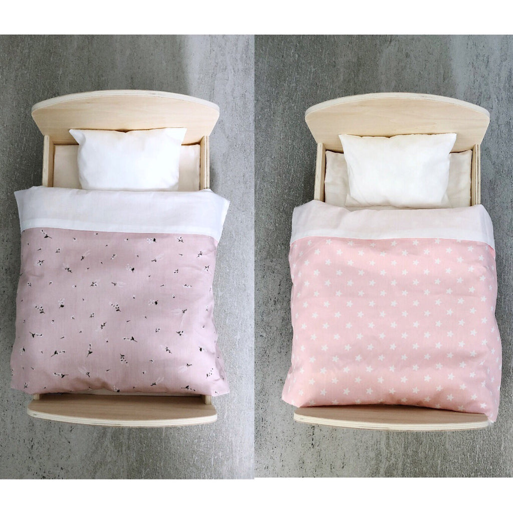 Wooden Doll Bed + Bedding Set (Hawthorn flower or Stars) - Mini Me Ltd