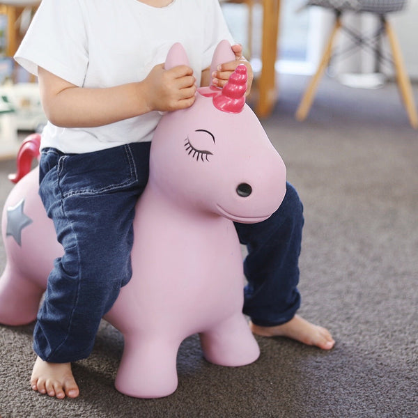 Pink Unicorn Bouncy Horse Hopper - Bouncing Animal