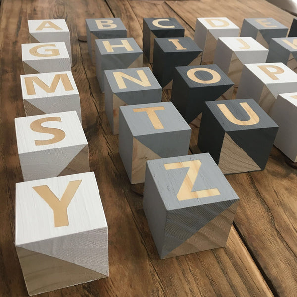 A-Z Handmade Wooden Blocks 26 pieces - Mini Me Ltd
