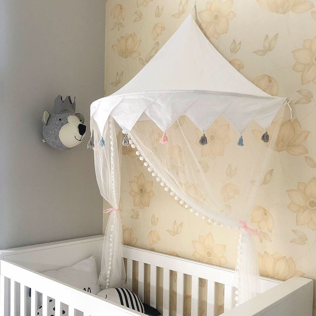 All White Hanging bed canopy room decor