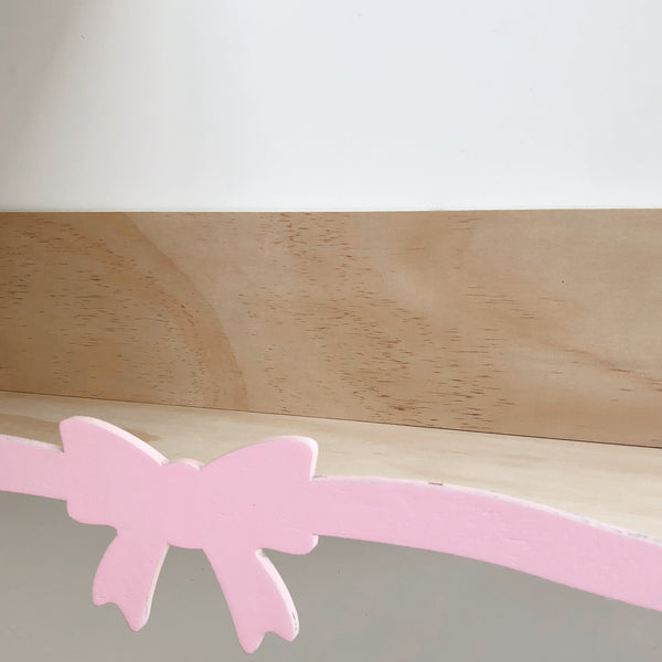 Pink Bow - Wooden Storage Rack / shelf - Mini Me Ltd