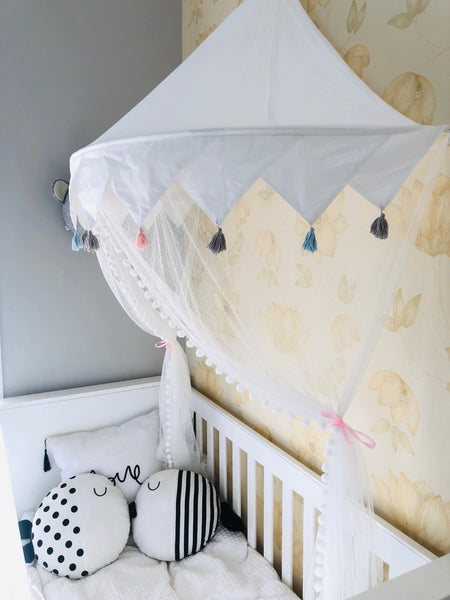 ALL White Hanging bed canopy room decor - Mini Me Ltd