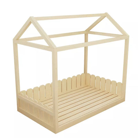 House Shape Bed Frame-Natural Wood with Mattress - Mini Me Ltd