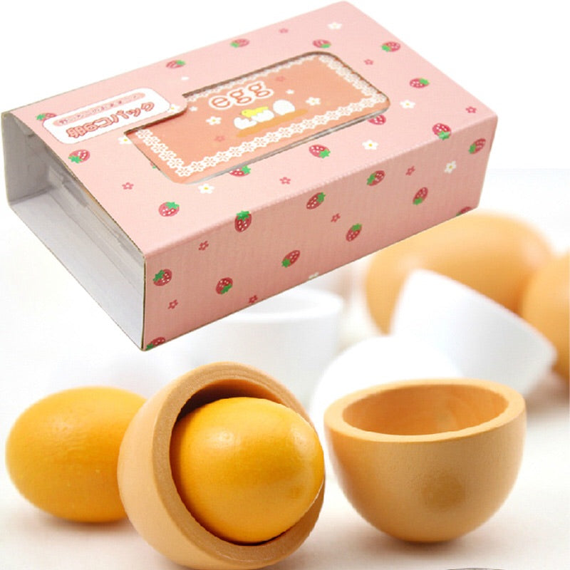 A box of wooden eggs (6 pieces) - Mini Me Ltd